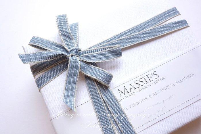1.0cm 韓國 灰藍色 虛線 挺版緞帶 緞帶 包裝 生日 情人節 婚禮 送禮 結婚 日
