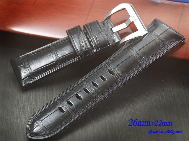 【時間探索】進口純正鱷魚皮 Panerai 代用高級錶帶 ( 26mm.24mm)