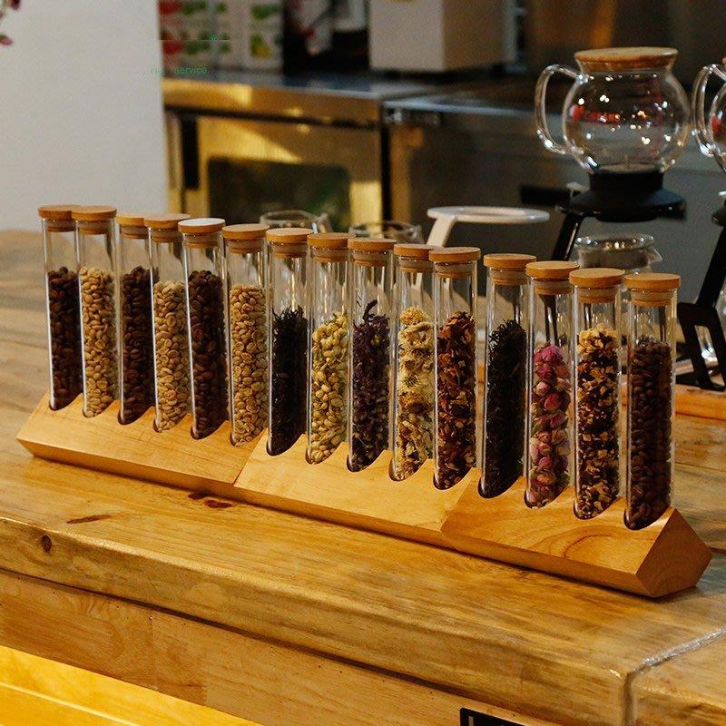 [C.M.平價精品館]潔淨廚房木質立式玻璃密封蓋試管造型食品雜糧儲物罐/調味瓶展示罐