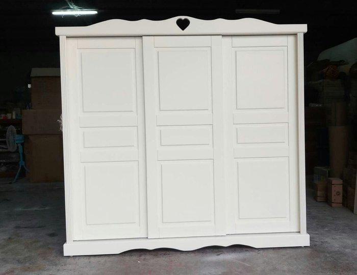美生活館 全新鄉村家具訂製全紐西蘭松木原木象牙白色 三推門衣櫃 衣櫥 收納櫃 玄關衣帽櫃 美背處理可當隔間可修改尺寸顏色