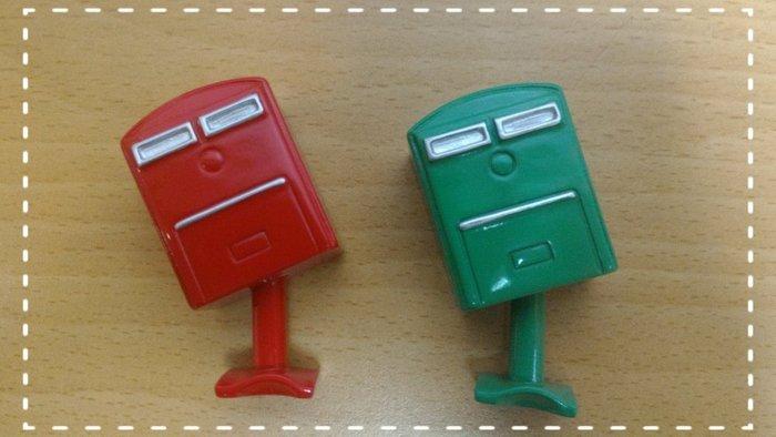 療癒磁鐵*打歪的郵筒--可愛郵筒冰箱貼-綠小歪和紅小歪