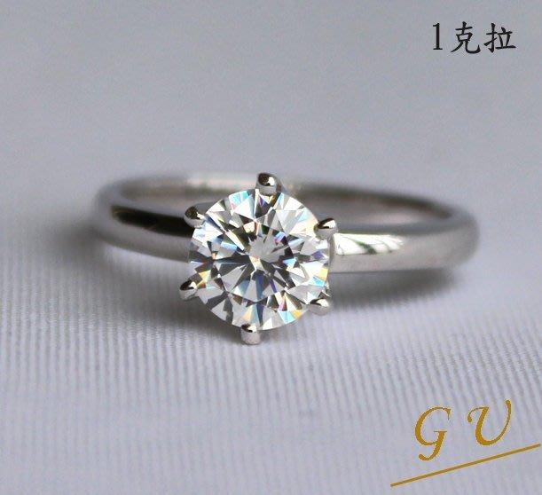 【GU鑽石】A20銀飾品擬真鑽石鉑金生日禮物母親節白金鋯石戒指求婚戒指   Apromiz  1克拉皇冠鑽戒