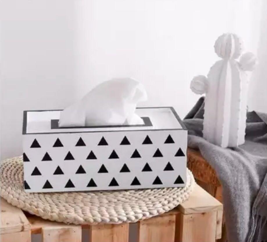 北歐 木質 衛生紙盒 紙巾盒 面紙盒 ins 幾何 三角 簡約 格子 黑白格 拍照道具 佈置 露營 木