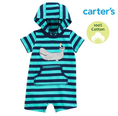 滿699免運 ✓ 美國童裝 Carter's 【100%純棉】短袖 包屁衣 連身裝 爬服 連帽T。小鯨魚的世界