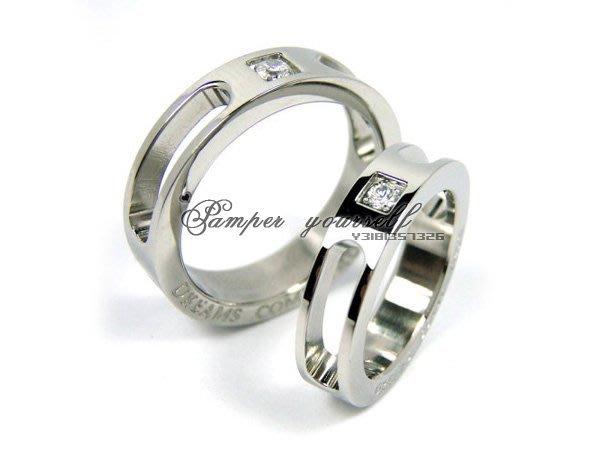 316L精鋼 七夕情人 白鋼 戒指 簍空可穿戴 4爪珠寶抓鑽鋯石 情侶 對戒 男女對戒