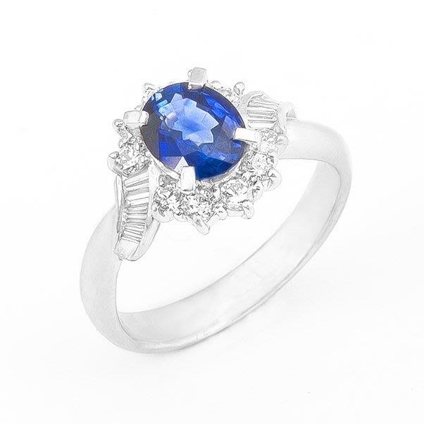 【JHT 金宏總珠寶/GIA鑽石專賣】1.31ct天然藍寶鑽戒/材質:PT900(S00003)
