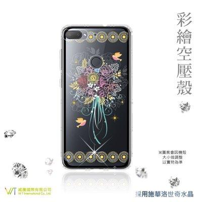 【WT 威騰國際】WT® HTC Desire 12 + 施華洛世奇水晶 彩繪空壓殼 軟殼 -【綻放】