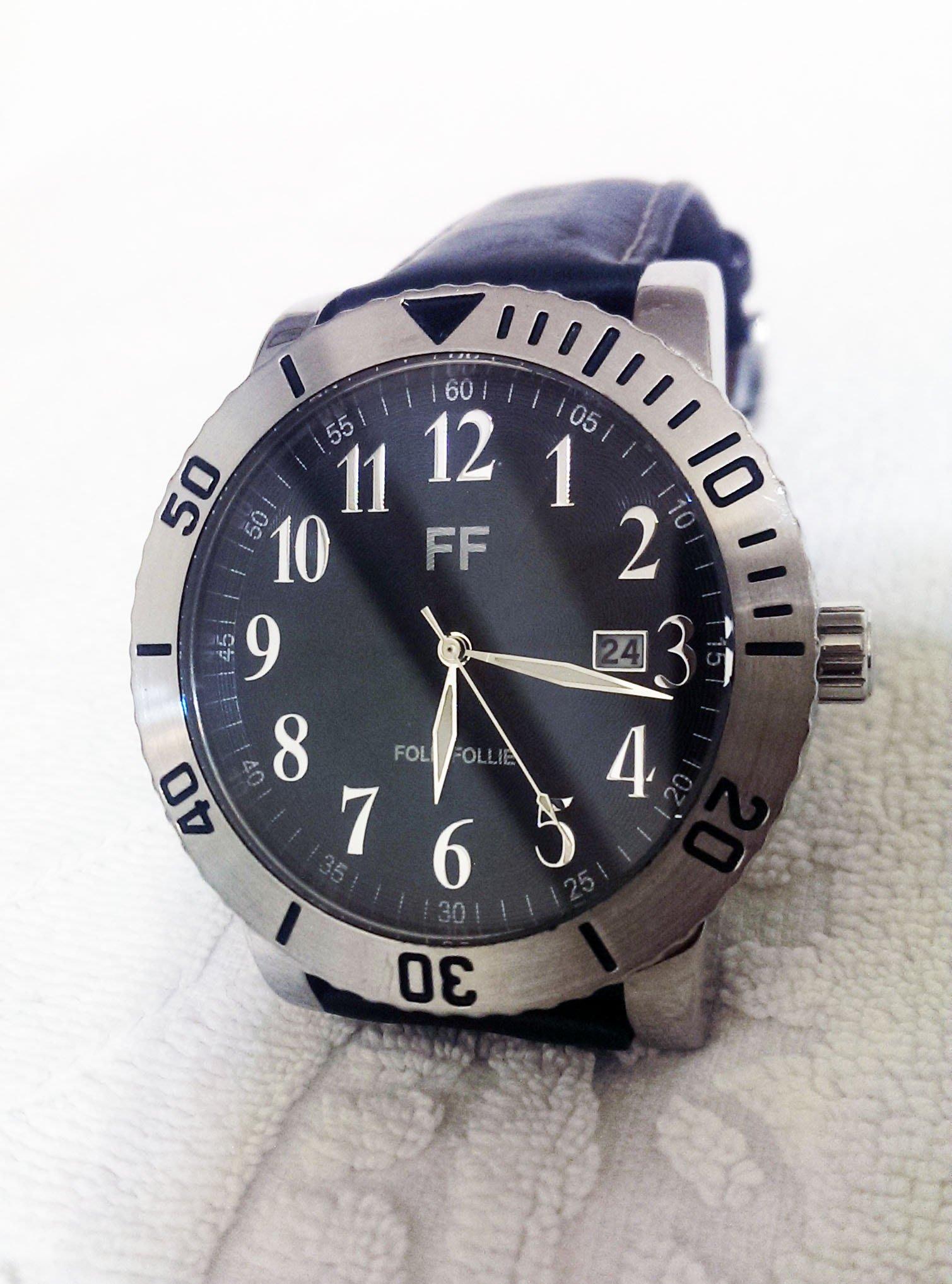 品味型男個性男錶【Folli Follie】芙麗百搭時尚女錶 造型錶 醫療鋼錶頭 錶徑50mm大鏡面 舒適頂級小牛皮錶帶