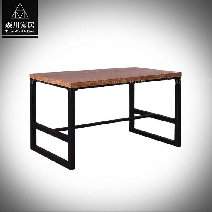 《森川家居》LRT-05RT03-工業LOFT原木日字腳萬用桌 餐廳咖啡廳民宿/餐椅收納設計/美式LOFT品東西IKEA