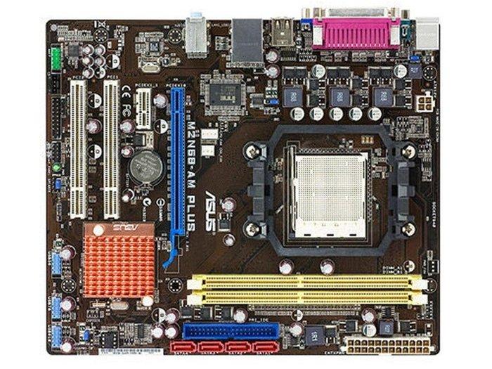 華碩 M2N68-AM PLUS AM3/AM2+整合型主機板、支援DDR2記憶體(拆機良品、附檔板)