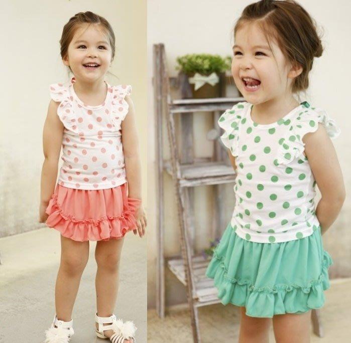 ~~阿布 ~~~NC129~可愛兩色女童水玉點點飛袖套裝 短袖上衣 蛋糕短裙  90~13
