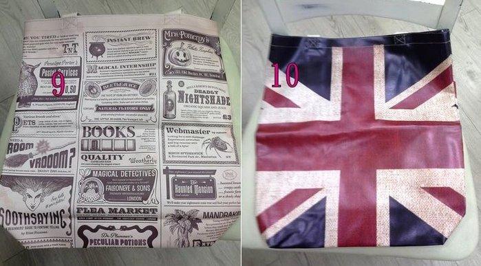 美生活館---全新日式雜貨ZAKKA鄉村風貓頭鷹玫瑰熊花草英國國旗報紙 皮革材質 購物袋 手提袋--9-10