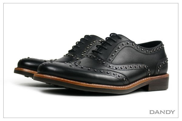 ├ DANDY ┤真牛皮鉚釘牛津鞋 ‧ 2018新款男鞋黑色RX-84D