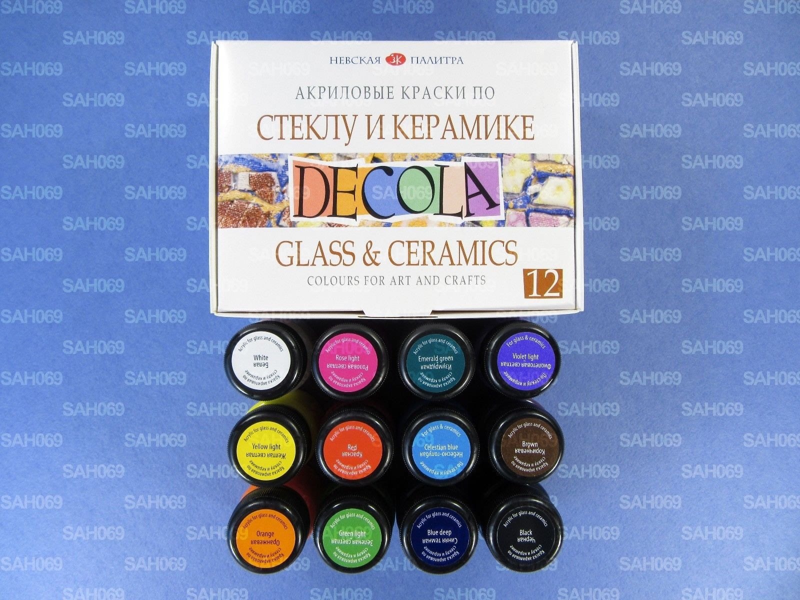 H&G美術廣場 俄羅斯 JSC Nevskaya palitra 3k Decola玻璃陶瓷顏料20ml12色盒裝