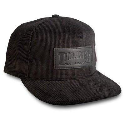 【THRASHER】 Logo Corduroy Snapback 帽子(黑色)
