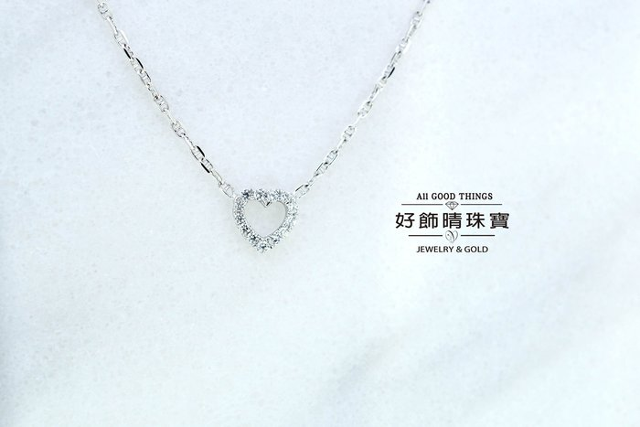 LR0039心動墜鍊/925銀精鍍白K金