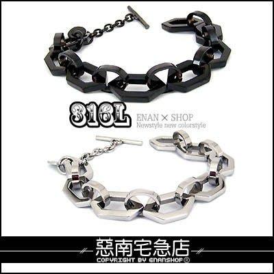 惡南宅急店【0176B】西德鋼手環『DK6角鋼手鍊』獨家2色可當情侶對鍊。單款區