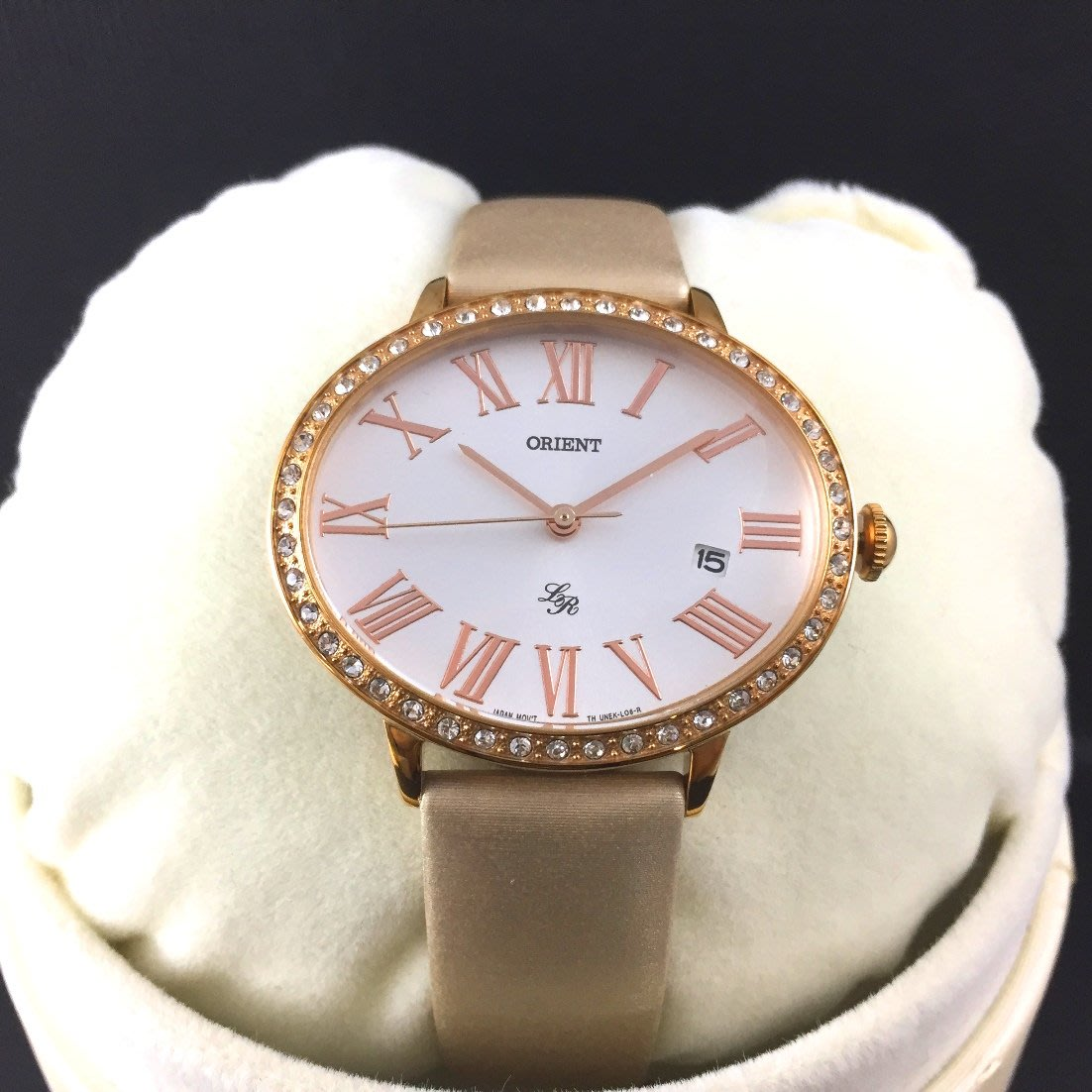 ORIENT 東方錶 LADY ROSE系列 橢圓形石英腕錶 皮帶款 FUNEK003W 玫瑰金 - 36mm*30mm