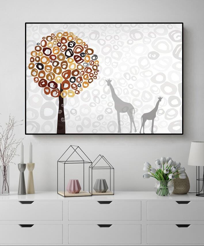 北歐風現代客廳臥室餐廳掛畫壁畫無框畫裝飾畫卡通簡約蓋小清新鹿(2款可選)
