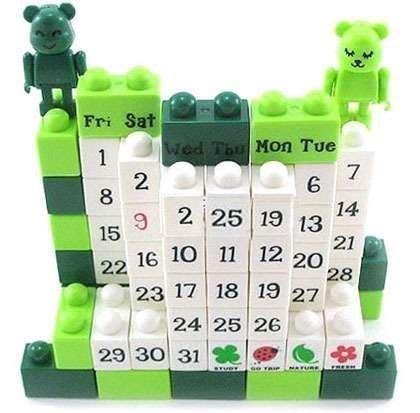 新670巷:卡通熊DIY積木萬年曆環保積木日系 手作日曆積木月曆桌曆~ 出貨~小熊也 出貨