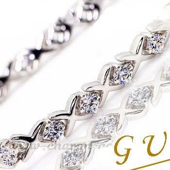 【GU鑽石】A39銀飾品鋯石手鍊925純銀手鍊項鍊白金生日禮物GresUnic Apromiz鑽石手鍊-月神