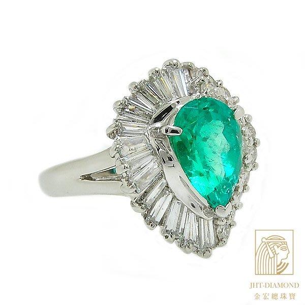 【JHT 金宏總珠寶/GIA鑽石專賣】2.533ct天然祖母綠鑽戒 /材質:PT900/附證(JB38-D03)
