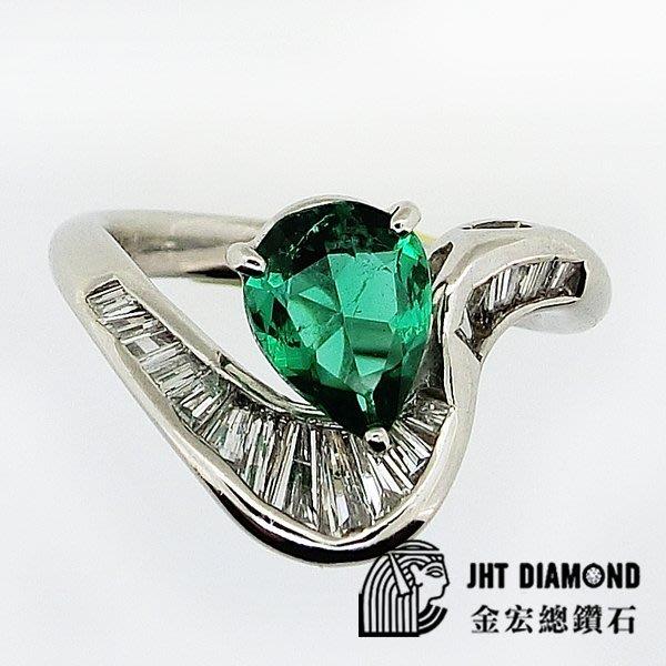 【JHT金宏總珠寶/GIA鑽石專賣】天然祖母綠鑽石戒指-附證書E:1.16ct/D:0.84ct (JB29-E13)