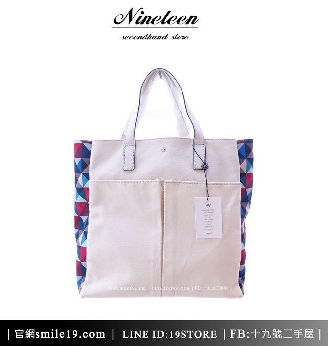 《十九號二手屋》Anya Hindmarch牛皮+彩菱格帆布購物包 手提包/購物包 [白色] **二手新品**
