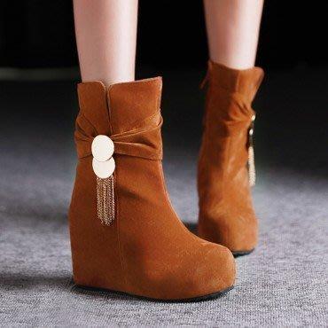 yes99buy加盟-小流蘇內增高中筒女靴