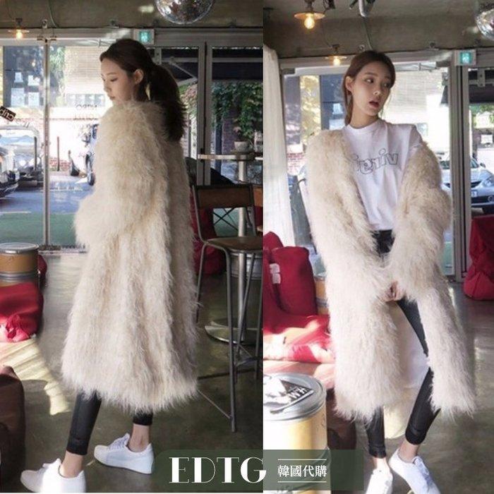 【  EDTG  】NEW米白色環保灘羊毛毛控皮草外套長款毛外套