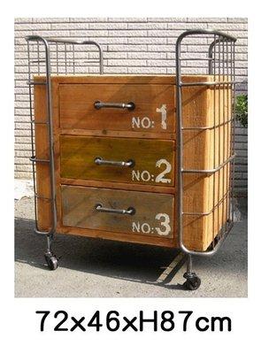 美生活館--全新工業 LOFT 風格 鐵加木商品-- 三抽推車收納櫃 置物櫃 斗櫃 玄關櫃  店面居家民宿餐廳