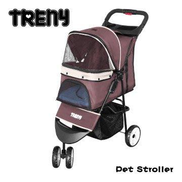 【TRENY直營】TRENY 快速收合 高級寵物推車-卡其 附杯架跟置物籃 寵物車 狗推車 貓推車 YB501-K