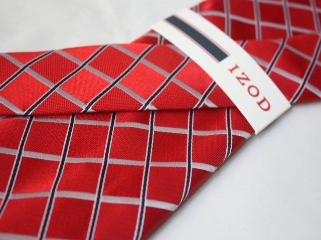 【IZOD】100%全新正品 格紋領帶-紅色【寬版8cm】*領帶兩條95折三條9折*NEW ID02