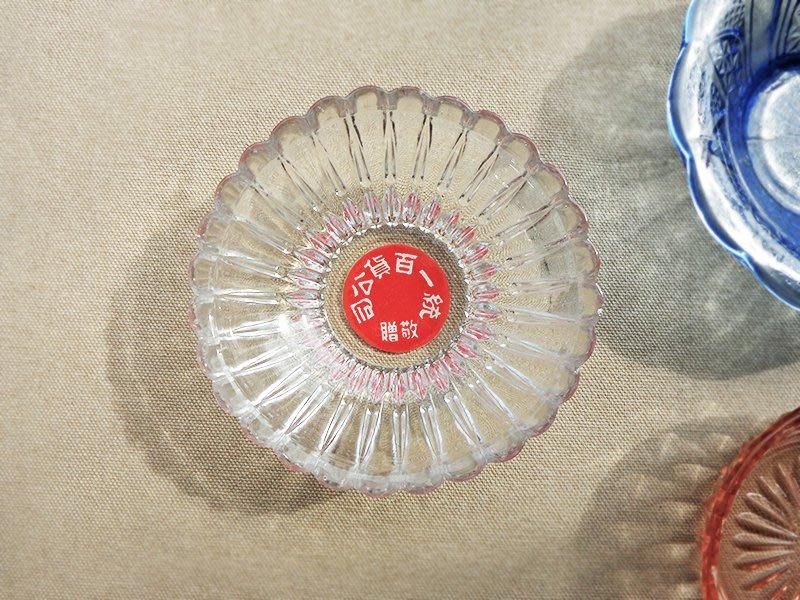 波光古物_早期台灣製統一百貨公司玻璃碗/冰碗/透明/放射/厚實/琉璃/老物/老件/復古/懷舊/壓花/刻花/雕花/點心碗