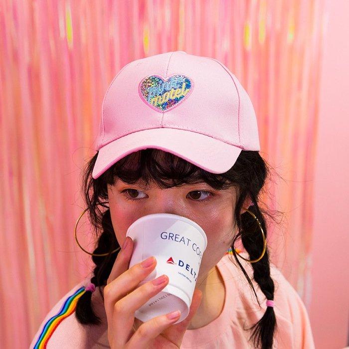 milkjoy心語刺繡棒球帽ins風夏日遮陽帽原宿少女學生帽子QT3251