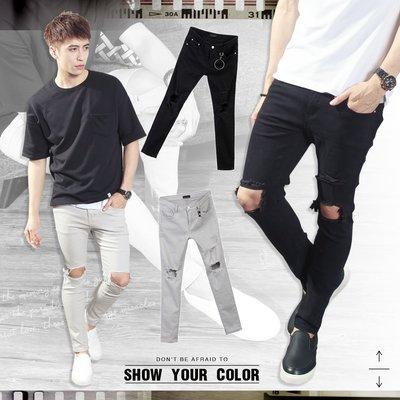 。SW。【K91509】正韓PE 韓國製 修身 雙膝破洞抽鬚 彈性佳 觸感舒適 黑灰 窄版 彈性牛仔單寧長褲 GD