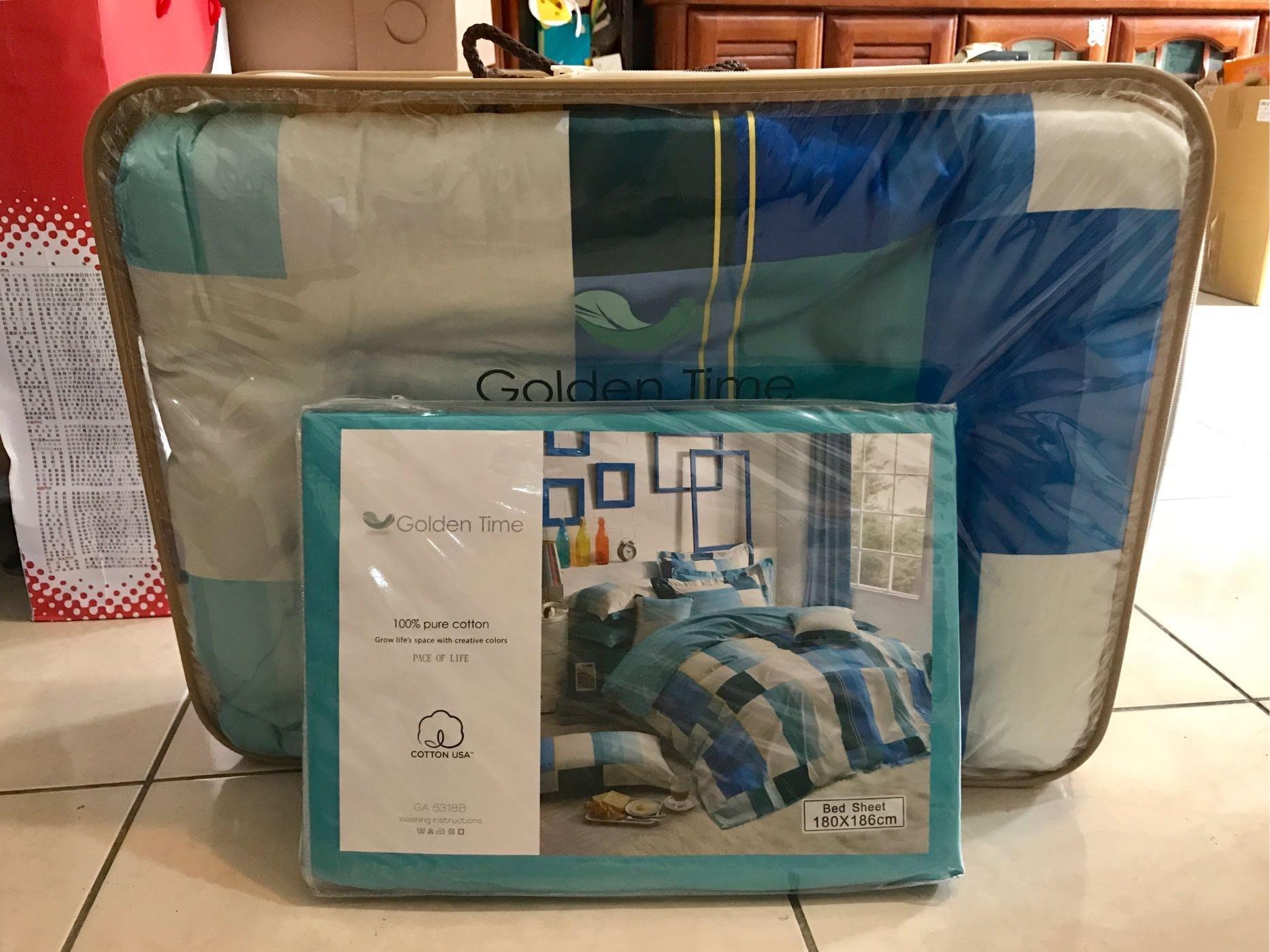 全新夢特嬌Golden Time系列100%純棉200織紗精梳棉床包組(床包+2枕套+兩用被)台灣製