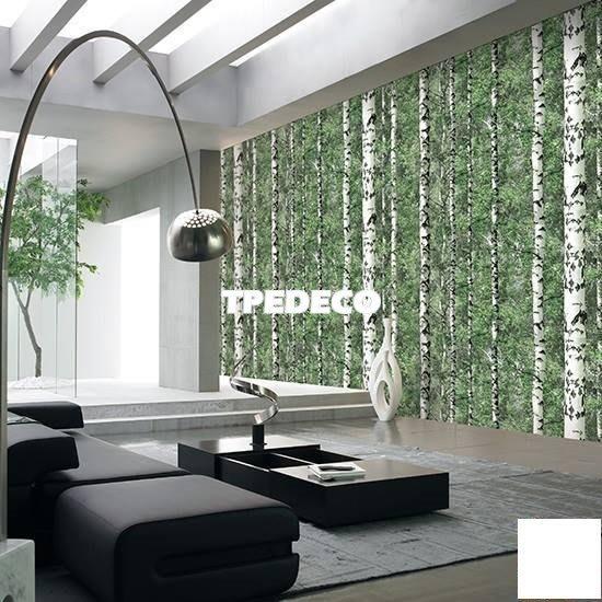 【大台北裝潢】BJ韓國進口壁紙/壁布* 大自然 白樹綠葉  每坪750元