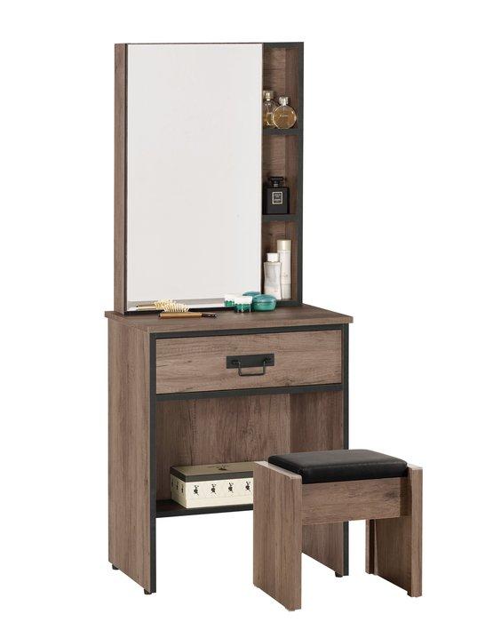 【DH】商品貨號G019-2商品名稱《德麥哈》二尺鏡台組含椅(圖一)開門式.鏡片為3mm玻璃.主要地區免運費