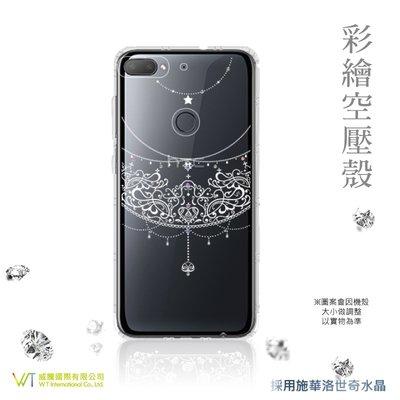 【WT 威騰國際】WT® HTC Desire 12 + 施華洛世奇水晶 彩繪空壓殼 軟殼 -【愛戀】