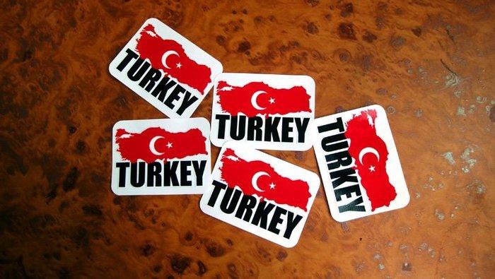 【衝浪小胖】土耳其國旗地圖抗UV、防水登機箱貼紙/Turkey/世界多國款可收集和訂製