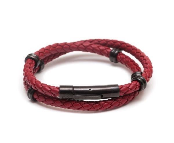 ZENGER 紐約手工高級編織牛皮手環 - 紅色 (PAUL HEWITT TATEOSSIAN SKULTUNA)