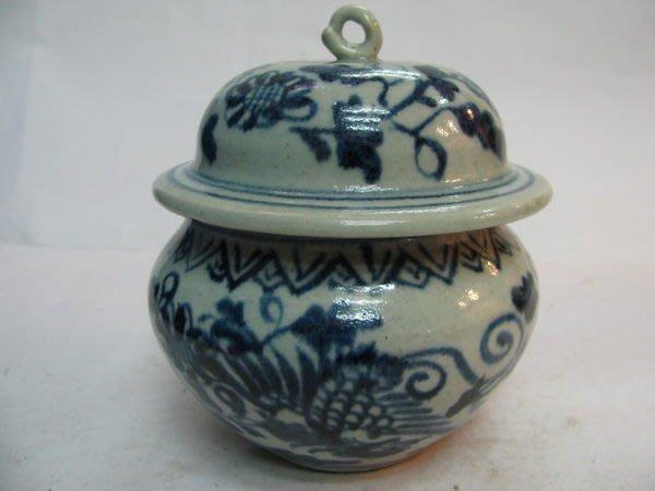 ~順治爺~R608號《早期收藏瓷器》~纏絲蓮雙鳳如意蓋罐~@666元起標