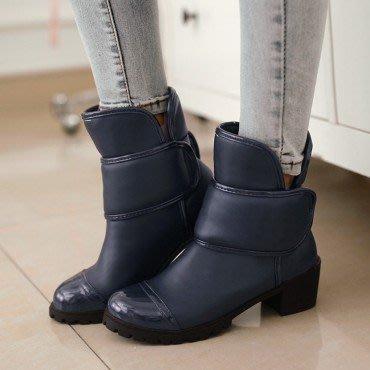 yes99buy加盟-秋冬新款女鞋 純色防滑魔術貼粗跟短筒女靴
