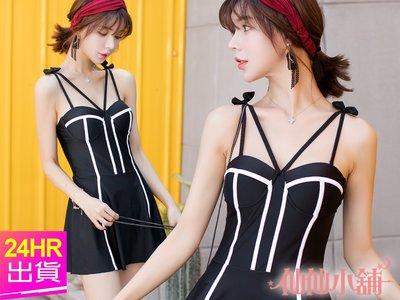 仙仙小舖 EE1878黑M~XL 流線顯瘦 一件式鋼圈連身泳衣泳裝 溫泉SPA泡湯 特價790元
