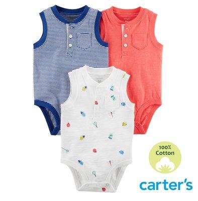 美國卡特 Carter's  男童裝 包屁衣 連身衣 / 無袖 坦克背心・純棉 - 舒爽夏日三件組