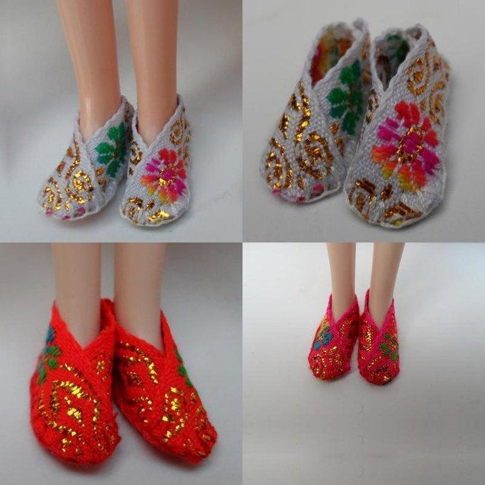 ♥可兒派對♥ 可兒娃娃 芭比娃娃 莉卡娃娃 平底鞋 古裝鞋 布鞋 繡花鞋 Doll Embroidered Shoes