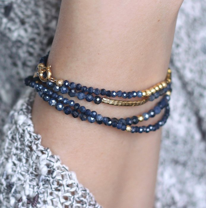 織夜_ 天然石四圈手鍊 切角藍寶石Sapphire 24K金純銅幾何 閃砂珠