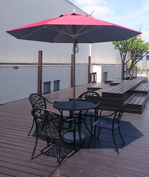 [兄弟牌戶外休閒傢俱]鋁合金圓型庭院1桌+4張鋁合金椅組+九尺不銹鋼陽傘及20kg大理石傘座七件組合~材質堅固耐用