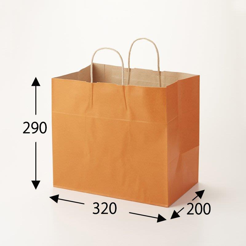 ☆╮Jessice 雜貨小鋪╭☆日本進口 橙色 紙扭把 手提紙袋 (50枚入) 32-4:32*20*29